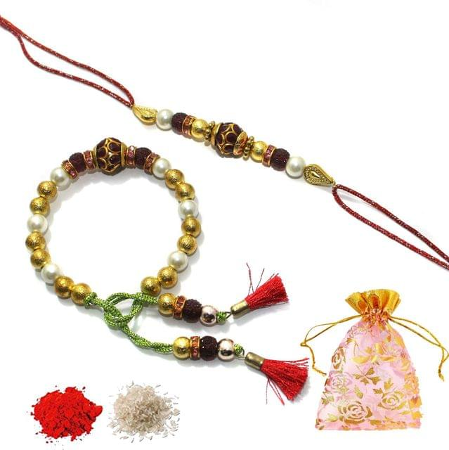 Designer Pacchi Premium Beaded Bhaiya Bhabhi Rakhi With Roli Chawal and Potli