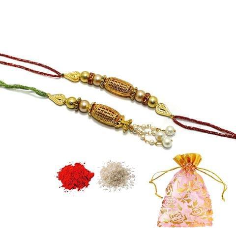 Designer Gold Plated Premium Beaded Bhaiya Bhabhi Rakhi With Roli Chawal and Potli
