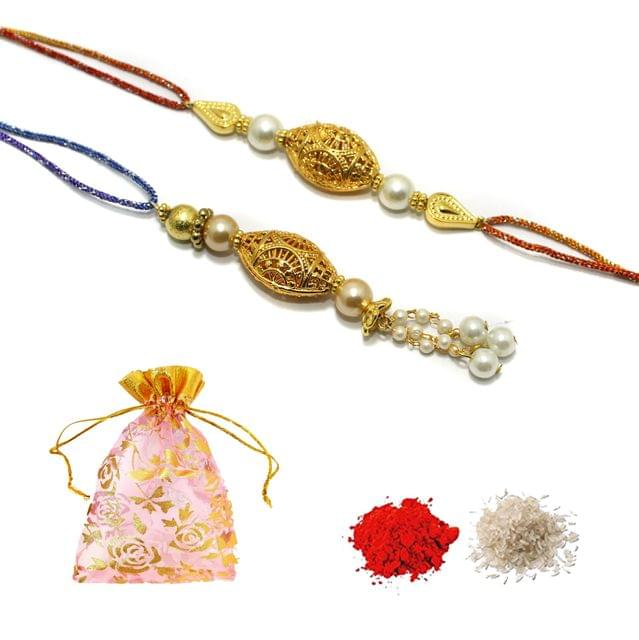 Designer Gold Plated Premium Beaded Bhaiya Bhabhi Rakhi With Roli Chawal and Potli