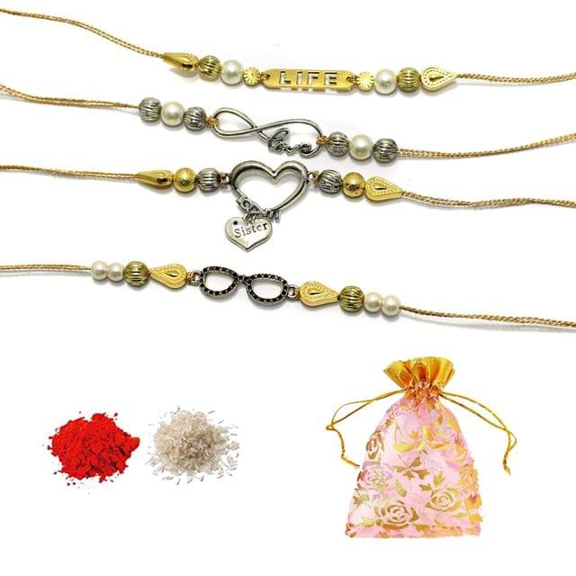 Designer German Silver Beaded Rakhi With Roli Chawal and Potli