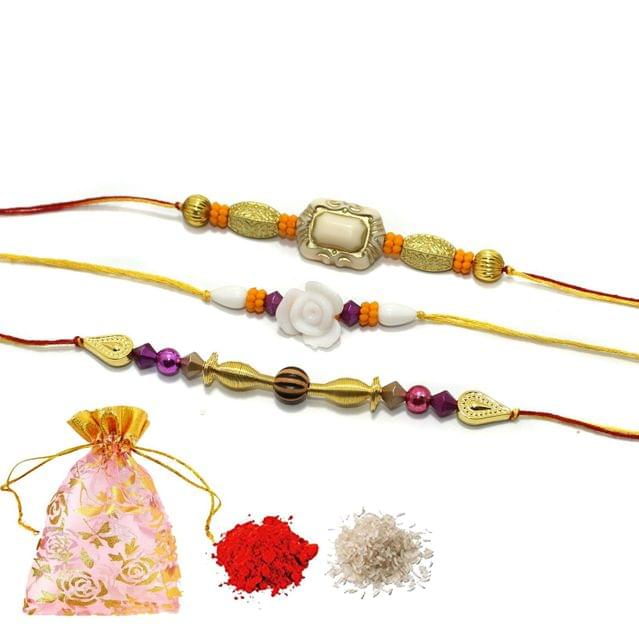 Handmade Designer Beaded Rakhi With Roli Chawal and Potli