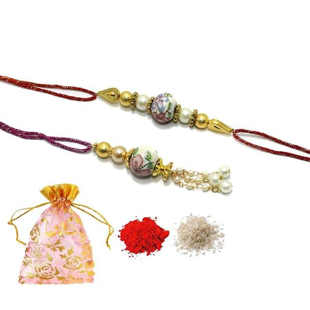 Handmade Designer Ceramic Bhaiya bhabhi Beaded Rakhi With Roli Chawal and Potli