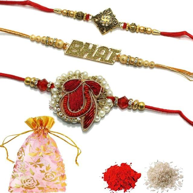 Designer Premium Beaded Rakhi With Roli Chawal and Potli