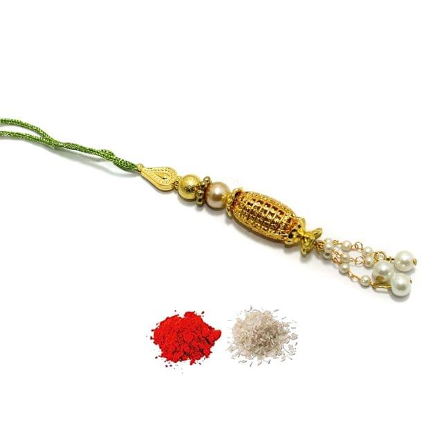 Gold Plated Beaded Lamba Rakhi With Roli Chawal