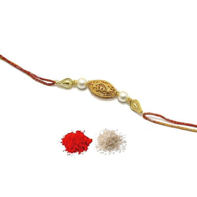 Gold Plated Beaded Rakhi With Roli Chawal