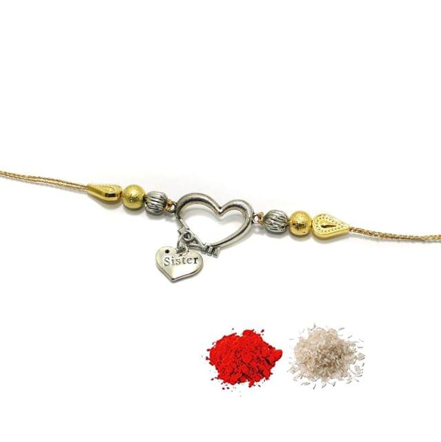 German Silver Heart Beaded Rakhi With Roli Chawal