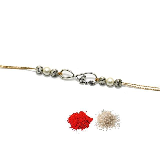German Silver Love Beaded Rakhi With Roli Chawal