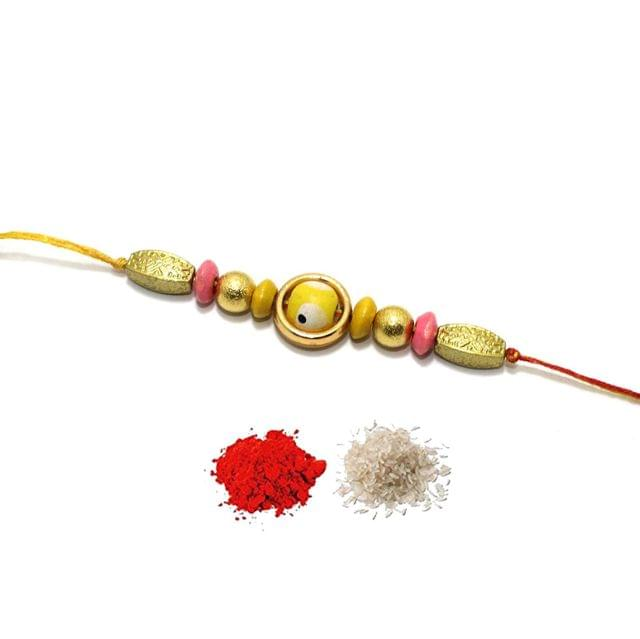 Designer Beaded Rakhi With Roli Chawal