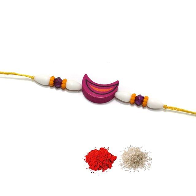 Designer Wooedn Beaded Rakhi With Roli Chawal
