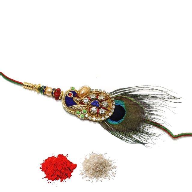 Designer Premium Peacock Beaded Rakhi With Roli Chawal