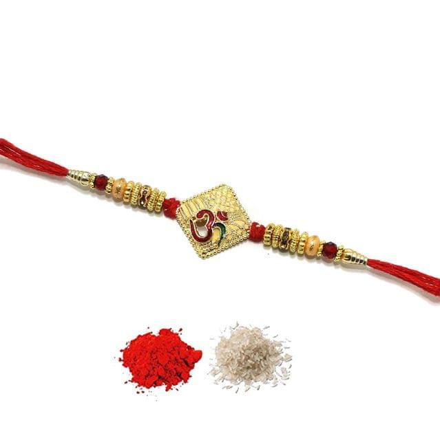 Designer Premium Om Beaded Rakhi With Roli Chawal
