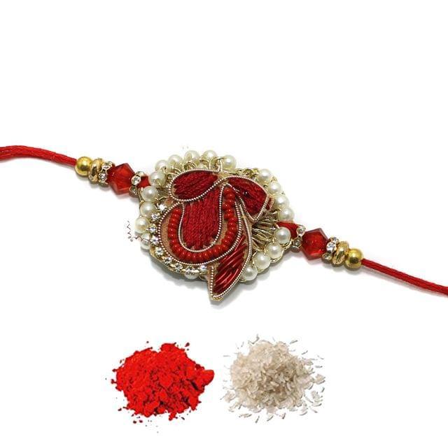 Designer Premium Beaded Rakhi With Roli Chawal