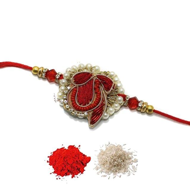 Designer Premium Beaded Rakhi With Roli Chawal