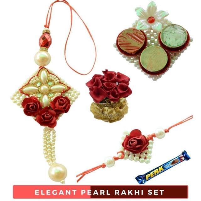 Foppish Mart Pearl White - Red Rose Bhaiya  Bhabhi Rakhi Set- 6 items