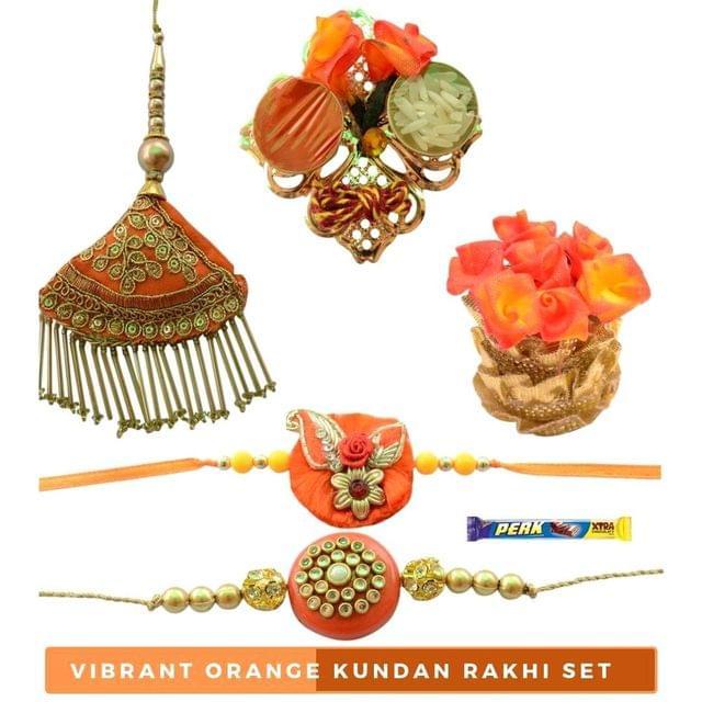 Foppish Mart Vibrant Royal   Orange Kundan Bhaiya Bhabhi Rakhi Set- 7 items