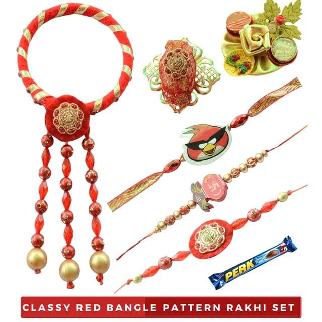 Foppish Mart Classy Red Bangle Bhaiya Bhabhi Rakhi Set with Kids- 8 items