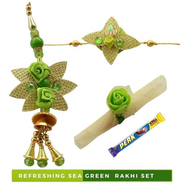 Foppish Mart Eye Refreshing Sea Green Bhaiya Bhabhi Rakhi Set - 5 items
