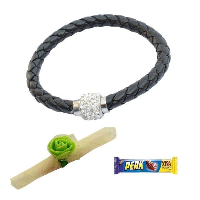 Foppish Mart  Magnetic Braided & Stone Studded Black Braceletcum Rakhi For Brother