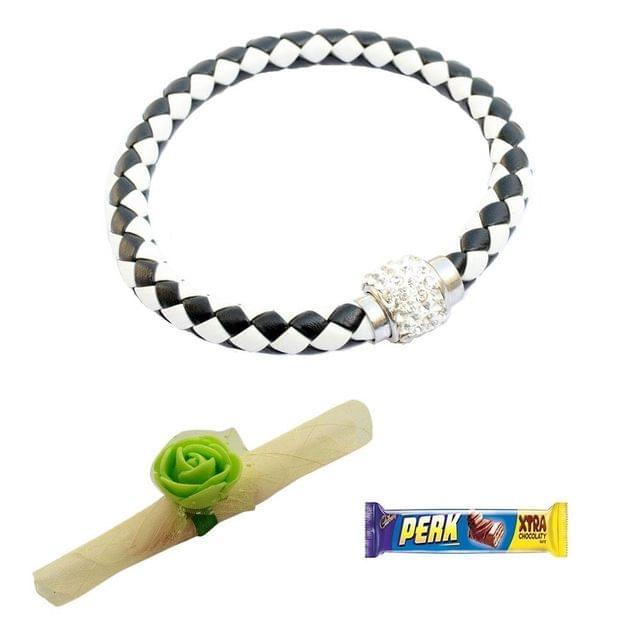 Foppish Mart  Magnetic Braided & Stone Studded Black & White Bracelet cum Rakhi For Brother
