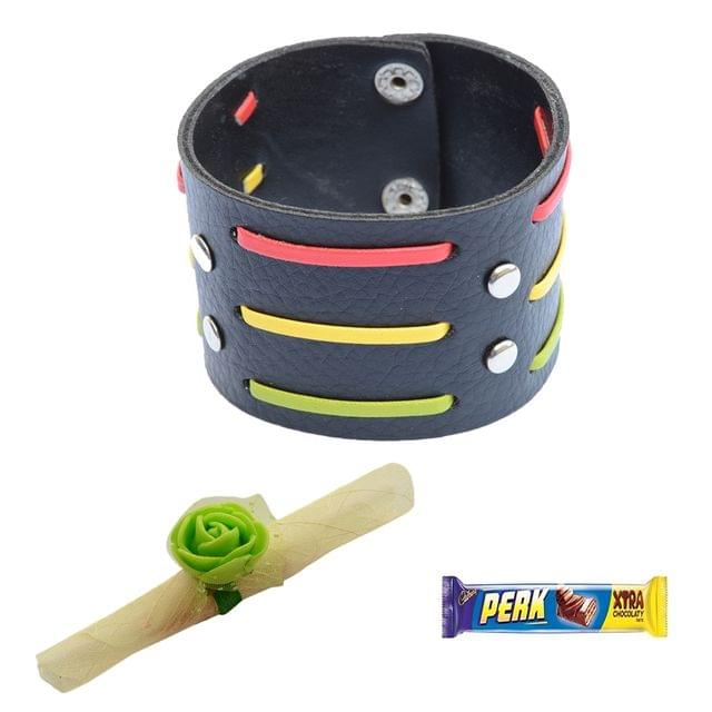 Foppish Mart  Broad  Multicoloured Stripes Bracelet cum Rakhi For Brother