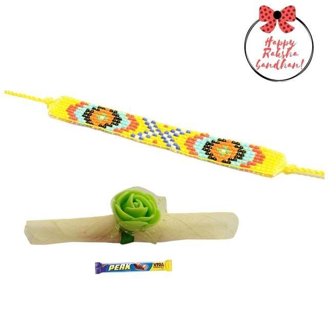 Foppish Mart  Lemon Yellow Seed Beaded  Bracelet cum Rakhi For Brother