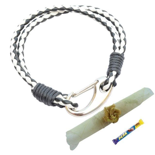 Foppish Mart  Double Layered Black & White Braided Bracelet cum Rakhi For Brother