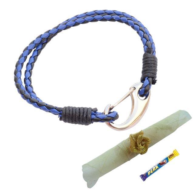 Foppish Mart  Double Layered Royal Blue & Black  Braided Bracelet cum Rakhi For Brother