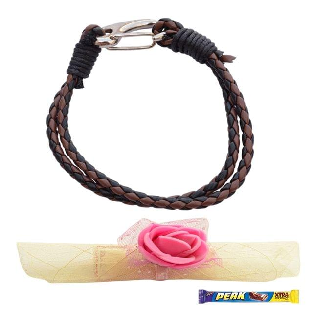 Foppish Mart  Double Layered Chocolate Brown & Black  Braided Bracelet cum Rakhi For Brother