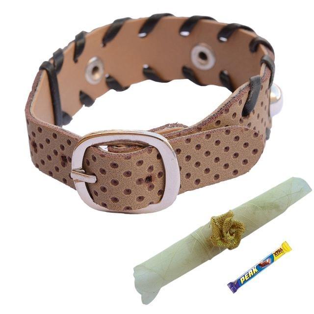 Foppish Mart Stitched  Buckle Bracelet cum Rakhi For Brother