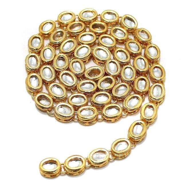 50 Pcs Golden Kundan Kadi Oval Shape