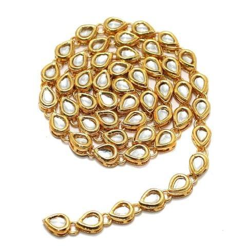 50 Pcs Golden Kundan Kadi Drop Shape