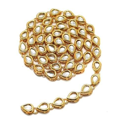 50 Pcs Golden Kundan Kadi Oval Shape