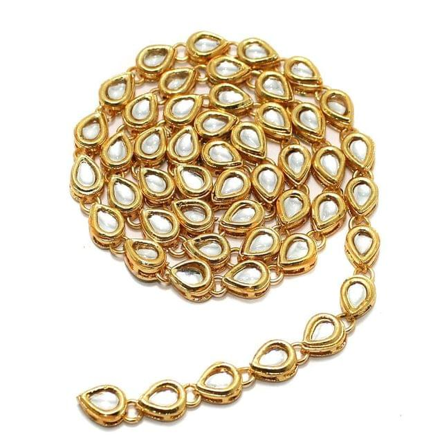 50 Pcs Golden Kundan Kadi Drop Shape