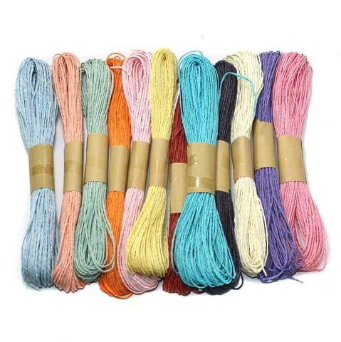 12 Pcs Multicolor Raffia Paper Threads 1.5mm