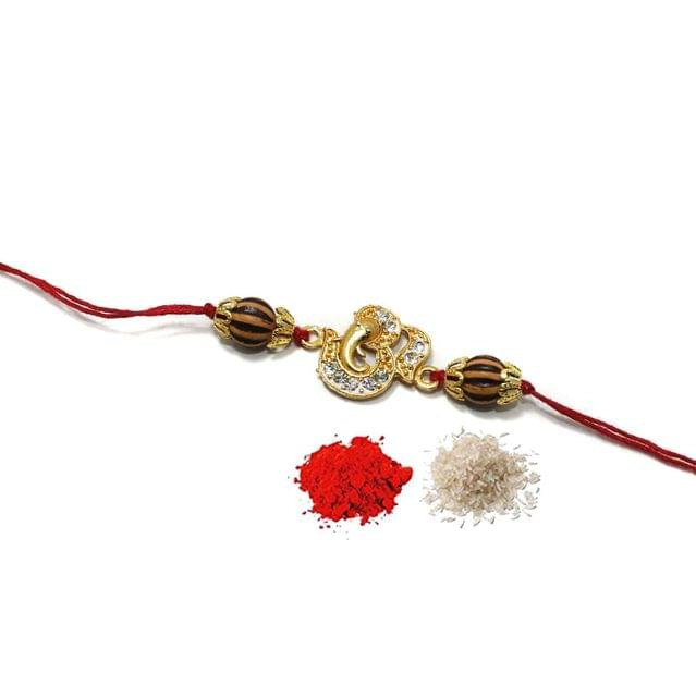 Rhinestone Connector Beaded Rakhi With Roli Chawal
