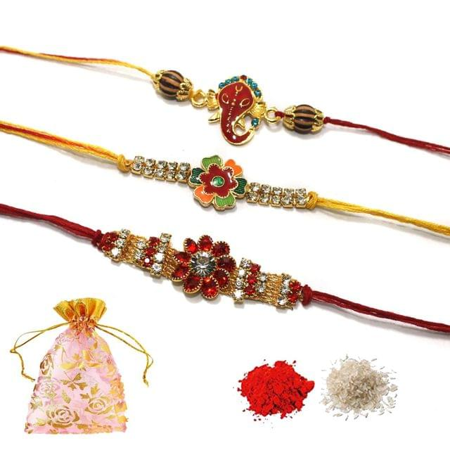 Rhinestone Rakhi Combo With Roli Chawal and Potli