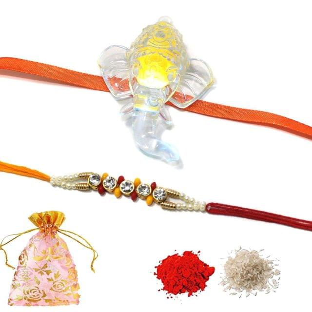Kids LED Lighting Rakhi Combo With Roli Chawal and Potli