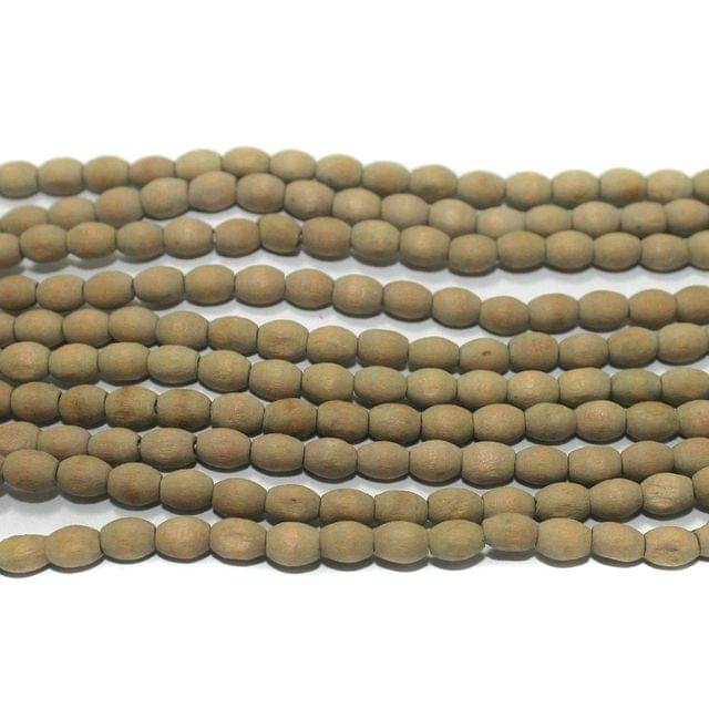 5 Strings Wooden Oval Beads 6x4mm