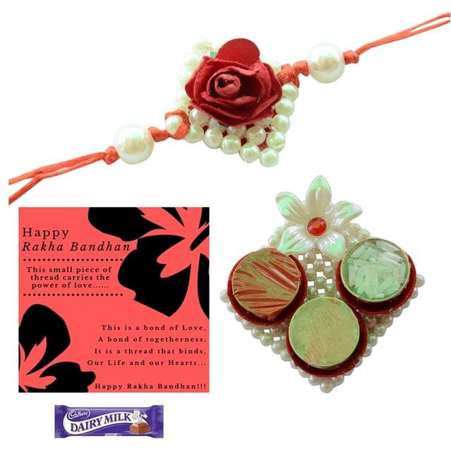 Foppish Mart Pearl Rakhi with Roli Chawal for Brother/Men- Rakhi Gift