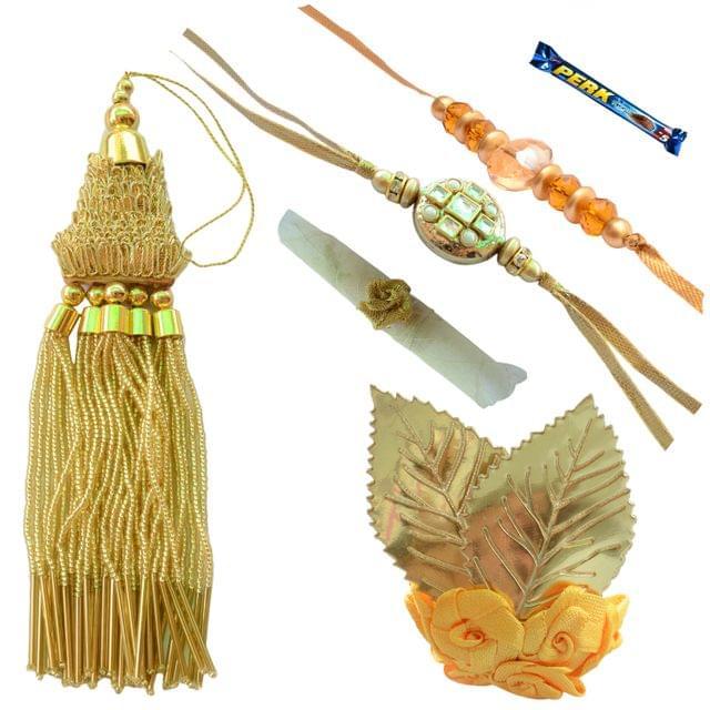 Foppish Mart Mesmerizing Golden Kundan Designer Bhaiya Bhabhi Rakhi Set- 7 Items