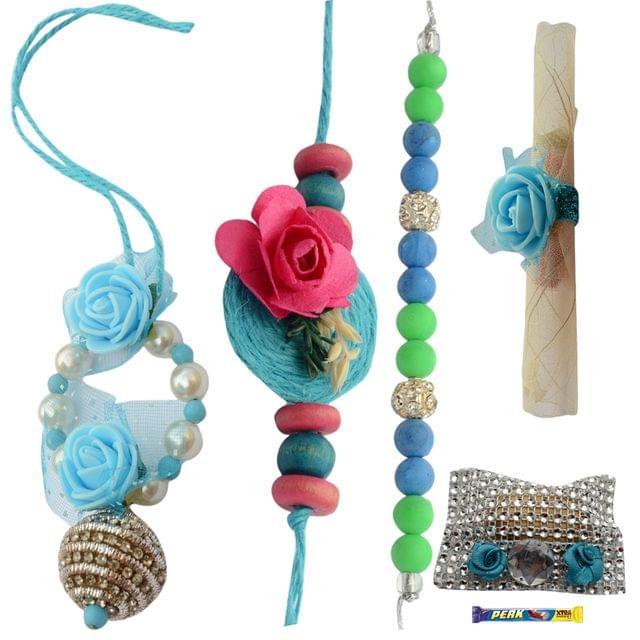 Foppish Mart Oceanic Blue Rose Bhaiya Bhabhi Rakhi Set - 7 items