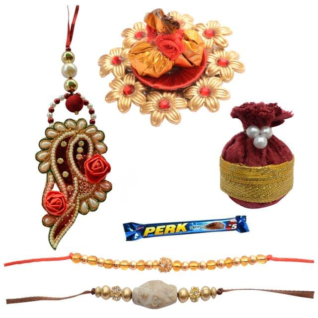 Foppish Mart Chestnut Maroon Beautiful Rose Bhabiya Bhabhi Rakhi Set - 7 Items