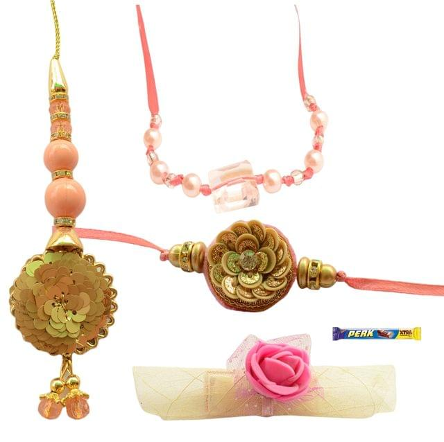 Foppish Mart Chic Peachish Pink  Bhaiya Bhabhi Rakhi Set - 6items