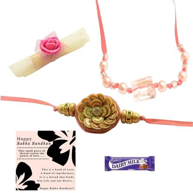 Foppish Mart Pink Pearly Delight Rakhi with Roli Chawal for Brother/Men- Rakhi Gift