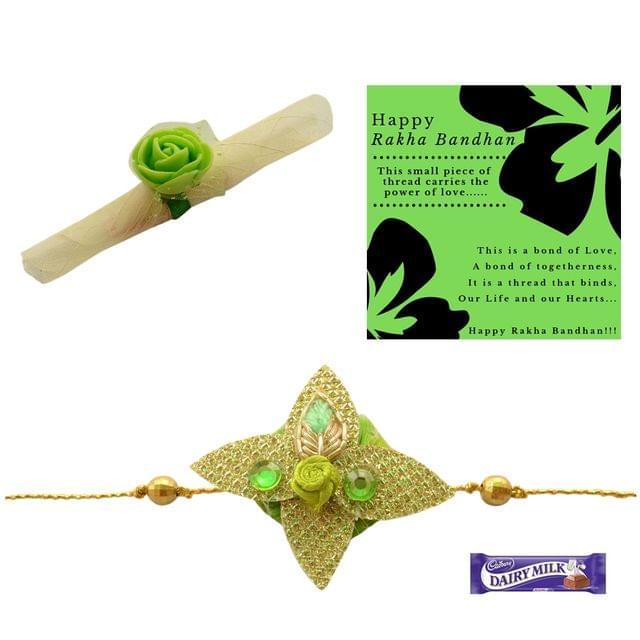 Foppish Mart Gorgeous Golden Green with Roli Chawal for Brother/Men- Rakhi Gift