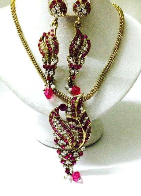 PEndant Set Pink Chain Earrings