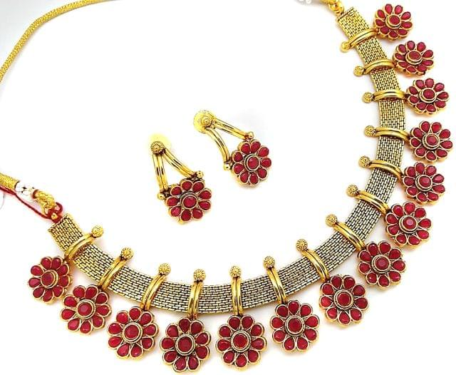 Red Gold Tone Jewelry Set Earrings