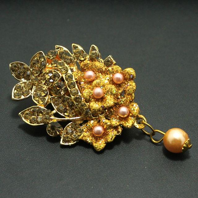 Gold Plated Stone Saree Pin