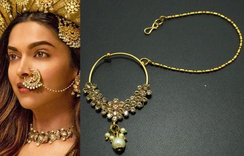Gold Plated Bridal Jewellery Nose Ring Nath with Long Chain