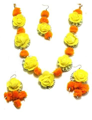 Gotta Patti Necklace Set with Maang Tikka, Earrings, Ring and Bracelet Pink